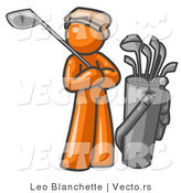 Vector of Orange Guy Standing by His Golf Clubs by Leo Blanchette