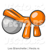 Vector of Orange Guy Strength Training His Arms and Legs While Using a Yoga Exercise Ball by Leo Blanchette