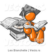 Vector of Orange Guy Student in a Graduation Cap, Reading a Book and Leaning Against a Stack of Books by Leo Blanchette