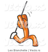 Vector of Orange Guy Swinging on a Rope by Leo Blanchette