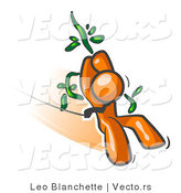 Vector of Orange Guy Swinging on a Vine like Tarzan by Leo Blanchette
