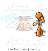 Vector of Orange Guy Talking on a Cell Phone, a Communications Tower in the Background by Leo Blanchette