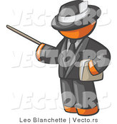 Vector of Orange Guy Teacher Using a Pointer in a Black Business Suit by Leo Blanchette