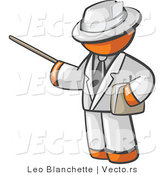 Vector of Orange Guy Teacher Using Pointer Stick While Wearing White Business Suit by Leo Blanchette