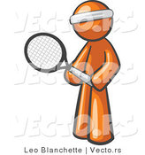 Vector of Orange Guy Tennis Player by Leo Blanchette