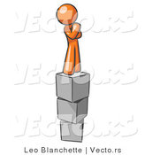 Vector of Orange Guy Thinking and Standing on Blocks by Leo Blanchette
