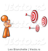 Vector of Orange Guy Throwing Darts at Targets by Leo Blanchette