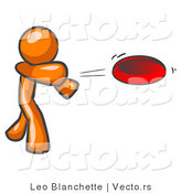 Vector of Orange Guy Tossing Red Frisbee Disk by Leo Blanchette