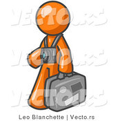 Vector of Orange Guy Tourist Carrying His Suitcase with Camera by Leo Blanchette