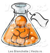 Vector of Orange Guy Trapped Inside a Bubbly Potion in a Laboratory Beaker with a Tag Around the Bottle by Leo Blanchette