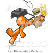 Vector of Orange Guy Tripping on Stairs, with Fast Food and a Rolling Briefcase Flying by Leo Blanchette