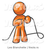 Vector of Orange Guy Tying Loose Ends of Cables by Leo Blanchette