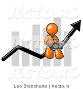 Vector of Orange Guy Using a Laptop Computer, Riding the Increasing Arrow Line on a Business Chart Graph by Leo Blanchette