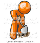 Vector of Orange Guy Using a Shovel to Dig a Hole for a Plant in a Garden by Leo Blanchette