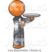 Vector of Orange Guy Waitor Holding a Platter by Leo Blanchette