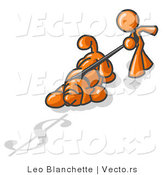 Vector of Orange Guy Walking a Dog That Is Pulling on a Leash to Sniff a Shadow of a Dollar Sign on the Ground by Leo Blanchette