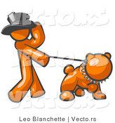 Vector of Orange Guy Walking a Tough Bulldog on a Leash by Leo Blanchette