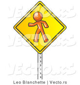 Vector of Orange Guy Walking on a Yellow Traffic Sign Posted on a Silver Pole by Leo Blanchette