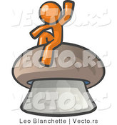 Vector of Orange Guy Waving and Sitting on a Mushroom by Leo Blanchette