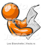 Vector of Orange Guy Wearing a Tie Reading Newspaper by Leo Blanchette