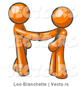 Vector of Orange Guy Wearing a Tie, Shaking Hands with Another upon Agreement of a Business Deal by Leo Blanchette