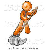 Vector of Orange Guy Wearing a Tie, Using a Mop While Mopping a Hard Floor to Clean up a Mess or Spill by Leo Blanchette