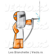 Vector of Orange Guy Welding Wearing Protective Gear by Leo Blanchette