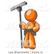 Vector of Orange Guy Window Cleaner Standing with a Squeegee by Leo Blanchette