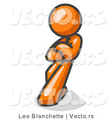 Vector of Orange Guy with an Attitude, His Arms Crossed, Leaning Against a Wall by Leo Blanchette