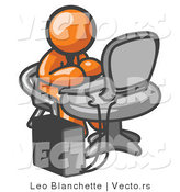 Vector of Orange Guy Working on a Desktop Computer on a Table by Leo Blanchette
