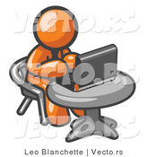 Vector of Orange Guy Working on a Laptop Computer on a Table by Leo Blanchette