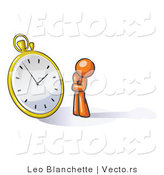 Vector of Orange Guy Worried and Watching a Clock by Leo Blanchette