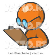 Vector of Orange Guy Writing Notes on a Clipboard by Leo Blanchette