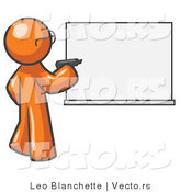 Vector of Orange Guy Writing on a White Board by Leo Blanchette