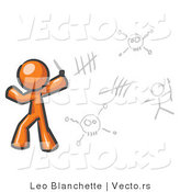 Vector of Orange Guy Writing Tribal Designs on a Wall by Leo Blanchette