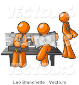 Vector of Orange Guys at a Bench at a Bus Stop by Leo Blanchette