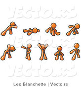 Vector of Orange Guys Doing Different Exercises and Stretches in a Fitness Gym by Leo Blanchette