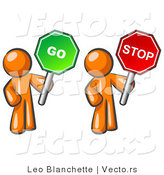 Vector of Orange Guys Holding Red and Green Stop and Go Signs by Leo Blanchette