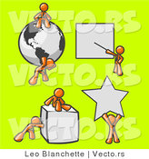 Vector of Orange Guys with a Globe, Presentation Board, Cube and Star by Leo Blanchette