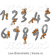 Vector of Orange Guys with Numbers 0 Through 9 by Leo Blanchette