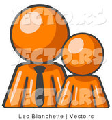 Vector of Orange Kid Standing Beside Orange Business Guy by Leo Blanchette