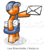 Vector of Orange Mail Guy Delivering a Letter by Leo Blanchette