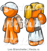 Vector of Orange School Girl and Boy Standing Together Waiting by Leo Blanchette