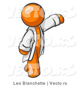 Vector of Orange Scientist, Veterinarian or Doctor Guy Waving and Wearing a White Lab Coat by Leo Blanchette