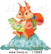 Vector of Orange Squirrel Hiker Reading a Map and Sitting on a Rock by Pushkin