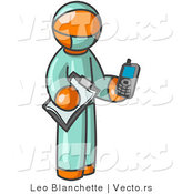Vector of Orange Surgeon Guy Holding a Clipboard and Cellular Telephone by Leo Blanchette