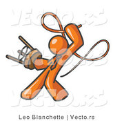 Vector of Orange Tamer Guy Holding a Stool and Cracking a Whip, on a White Background by Leo Blanchette
