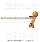 Vector of Orange Woman Tugging on a Rope by Leo Blanchette
