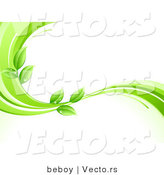 Vector of Organic Green Leaves Wet with Dew Drops on a Green Wave Border by Beboy