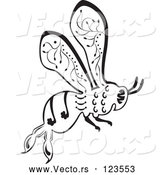 Vector of Ornate Black and White Bee in Flight by Cherie Reve